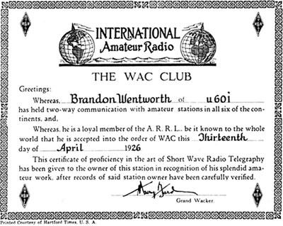 Диплом WAC тех лет (приведён его выданный №1).