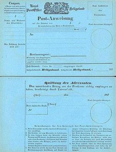 Почтовая карточка (лицевая и оборотная сторона). Гельголанд, 1870 г.