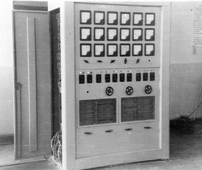 Instrument cabinet for power supply control, designed under O.K. Shcherbakov's guidance