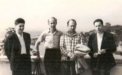 Yuri Rogachev and Nikolay Matyukhin with colleagues in Vladivostok, 1971