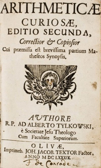 The title page of the Arithmeticae Curiosae by Albertas Tilkovskis